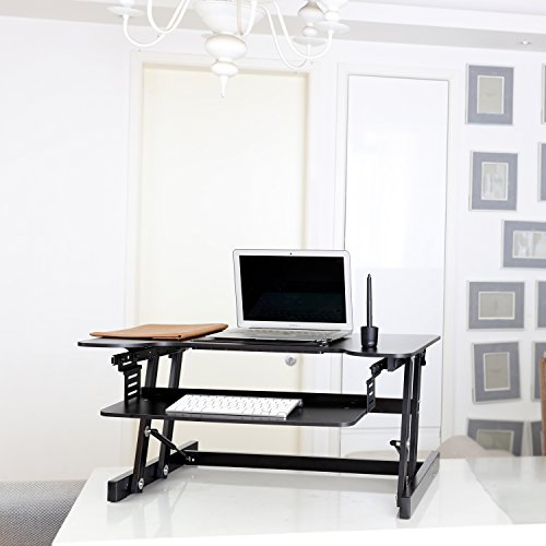 Sodergren - Height Adjustable Sit/Stand Desk Laptop/Monitor Riser, 55lb Capacity - 32' wide With Retractable Keyboard Tray - Black