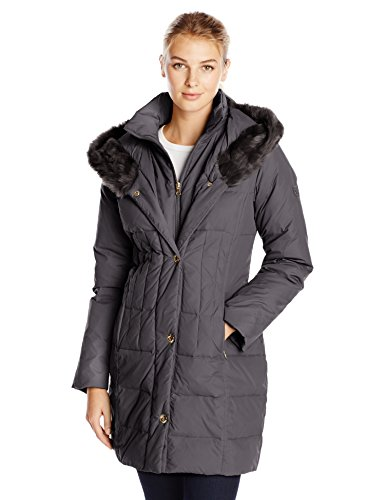 Larry Levine Women's Hooded 3/4 Length Down Filled Coat, Black, Medium