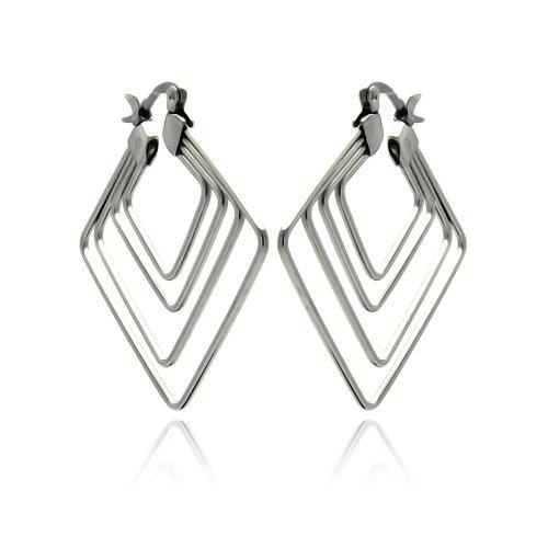 Hoop Diagonal (Exquisite Stainless Steel Multi Diagonal Square Hoop Earring)