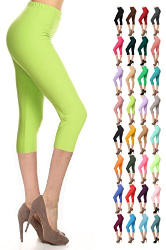 Leggings Depot Women's Popular Basic Capri Cropped Regular and Plus Solid High Waist Leggings (Plus (Size 12-24), Lime)