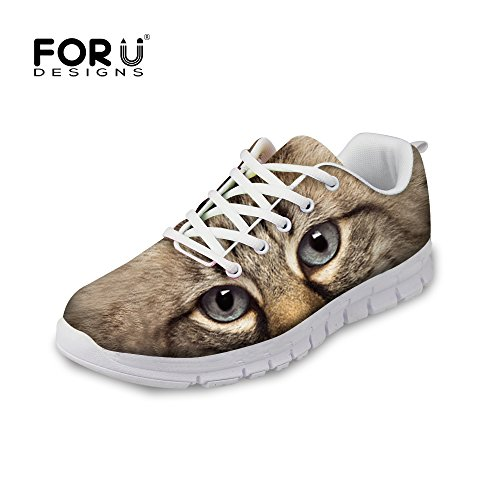 FOR U DESIGNS Fashion Cat Print Mens & Womens Breathable Mesh Running Shoes Sneaker Gray Cat a hlAQCL