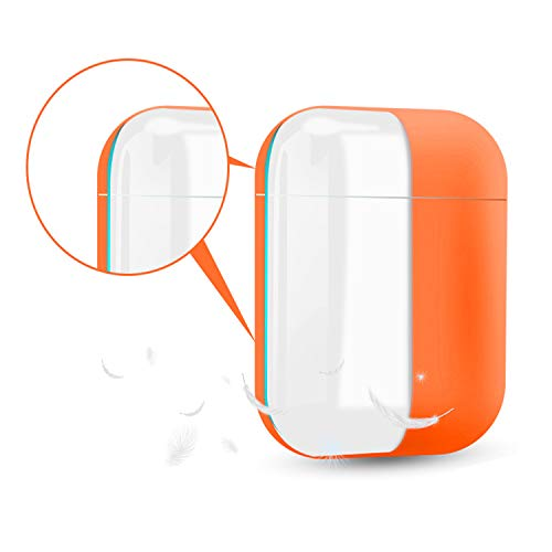 Coffea AirPods Case, 0.8mm Ultra-Thin Soft Skin Silicone Case for Apple AirPods 2 & 1 [Front LED Visible] (Orange+Black)