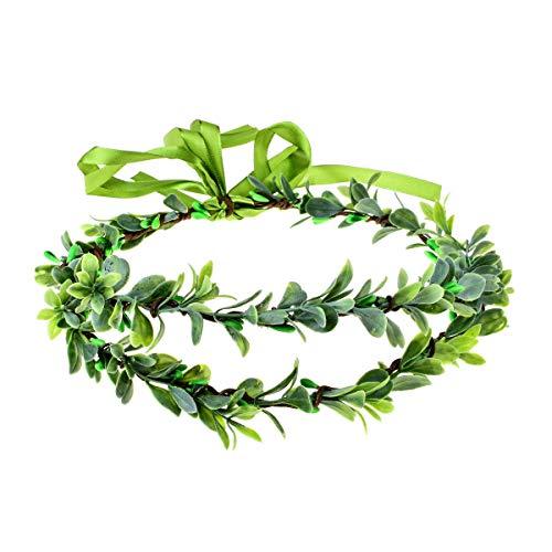 Floral Fall The Greek Wreath Flower Halo Wedding Crown Woodland Bridal Headpiece Greenery Crown HC-29 (A-Green 2 Layer) ()