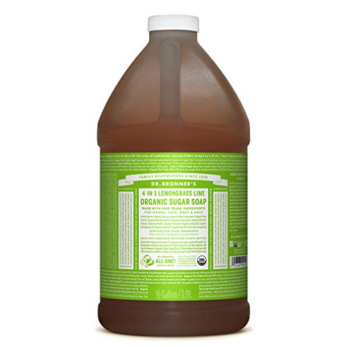 Dr. Bronner's - Organic Sugar Soap (Lemongrass, 64 Ounce) - Made with Organic Oils, Sugar and Shikakai Powder, 4-in-1 Use: Hands, Body, Face and Hair, Cleanses, Moisturizes and Nourishes, Vegan
