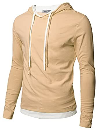 Doublju Mens Hood Pull-over with Contrast String Beige X-Large