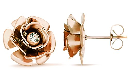 (Lazycat Rose Flower earrings stainless steel of fashion jewelry gift (Rose Flower Rose)