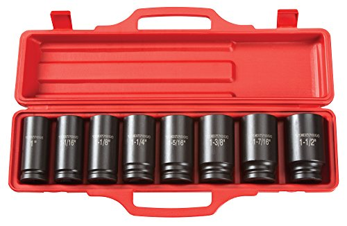 TEKTON 3/4-Inch Drive Deep Impact Socket Set, Inch, Cr-V, 6-Point, 1-Inch - 1-1/2-Inch, 8-Sockets | 4891
