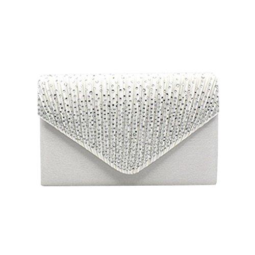 White Bag Clutch Diamante Satin Evening Ladies Fullfun 8aPqFF