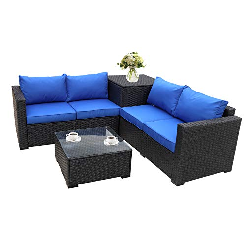 (Outdoor PE Wicker Furniture Set 4 Piece Patio Black Rattan Sectional Loveseat Couch Set Conversation Sofa with Storage Table Royal Blue)