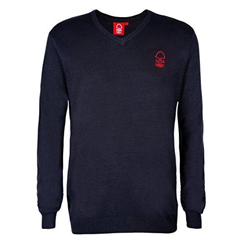Nottingham Forest FC Official Gift Mens Crest Knitted V-Neck Jumper Navy Large Men's V Neck Christmas Jumpers