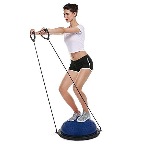 Popsport Yoga Fitness Ball 23 Inch Exercise Balance Ball Yoga Balance Trainer Ball with Lifting Rope and Pump Exercise Workout Kit (Blue Massage spot)