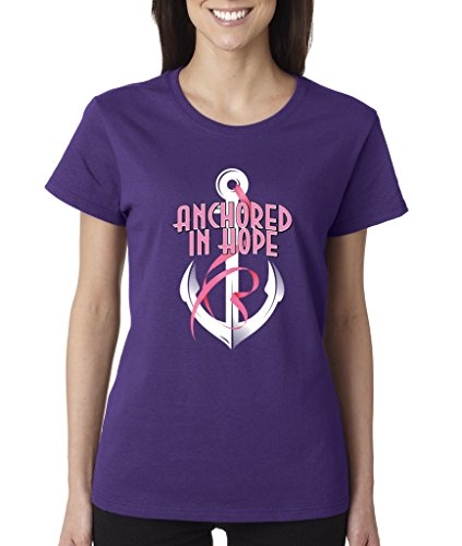 Anchored In Hope Pink Ribbon Ladies T-Shirt Breast Cancer Awareness Shirts 3XL Purple b15 (Cancer T-shirt Ribbon Purple Hope)