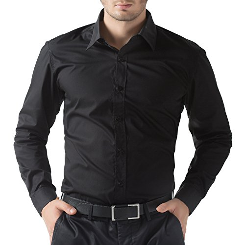 Black Designer Dress - PJ PAUL JONES Men's Designer Slim Fit Dress Shirts Office Wear (L, Black 52-1)