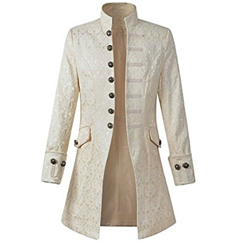 Nobility Baby Mens Velvet Goth Steampunk Victorian Frock Coat (M, White) by Nobility Baby (Image #4)