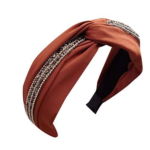Fashion Elastic Headbands, Solid Color Fabric with Diamonds Wide-Brimmed Girl Accessories Headband Cross Bow Headband ()