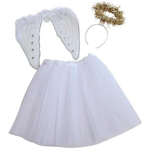 [Girls Angel Costume Set - White Tutu, Angel Wings and Gold Halo Headband (Tutu 16