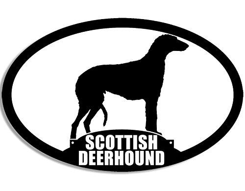 (American Vinyl Oval Scottish Deerhound Silhouette Sticker (Scotch Dog Breed))