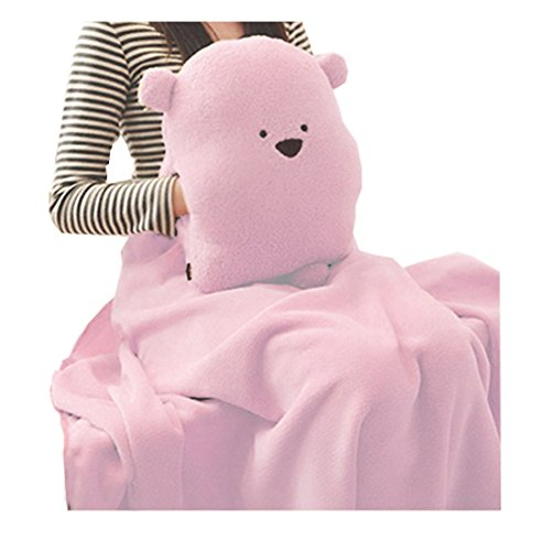 FeelMeStyle Adults Kids Multifunctional Throw Pillow & Hand Warmer & Blanket Cute Bear Pillow