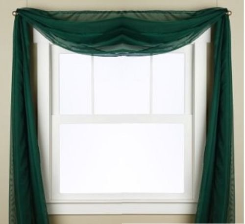 Gorgeous Home 1 PC SOLID HUNTER GREEN SCARF VALANCE SOFT SHEER VOILE WINDOW PANEL CURTAIN 216