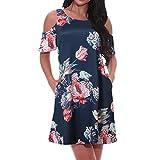 Women Casual Dresses Cold Shoulder Short Sleeve Sundress Elegant Flora Printed Strap Mini A Line Dress Plus Size S-2XL (Navy, S)