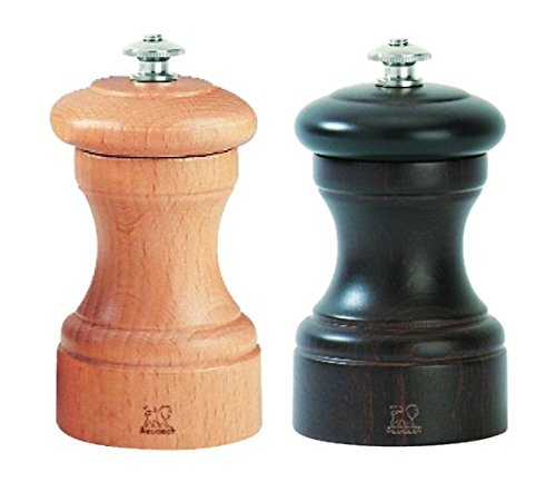 Peugeot Bistro - Peugeot 2/22594 Bistro 4 Inch Chocolate Pepper Mill and 4 Inch Natural Salt Mill Set