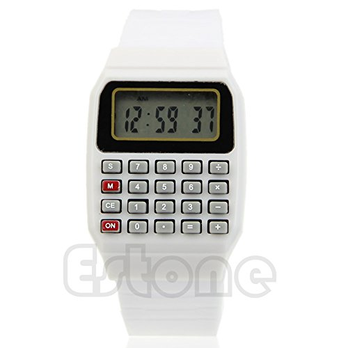 (Sarora - Children Calculator Watch - Silicone Date Multi-Purpose Kids Electronic Calculator Wrist Watch (White))