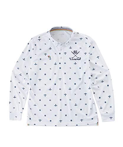 アーノルドパーマー ゴルフウェア ポロシャツ 長袖 メンズ 飛び柄BD長袖シャツ AP220202H04 WH L