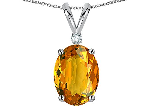 Gold Round Citrine Pendant (Star K Oval 8x6mm Genuine Citrine Rabbit Ear Pendant Necklace 14 kt White Gold)
