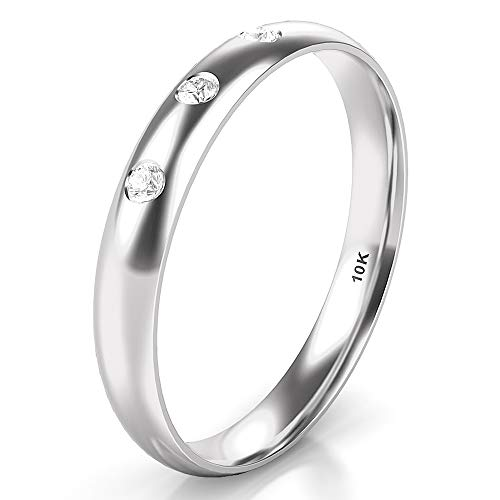 Sz 8.0 Solid 10K White Gold 3 Diamond 3MM Dome Wedding Anniversary Band Ring ()