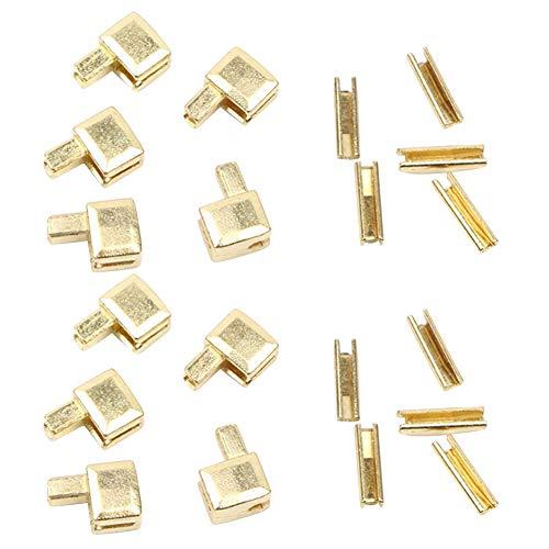 Trycooling 20Pcs Metal Zipper Latch Slider Retainer Insertion Pin for Zipper Repair Zipper Repair Kit (#5) (Gold)