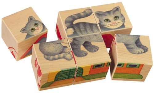 (Selecta Fattoria Farm Wooden Picture Cube Puzzle Blocks - Made in GERMANY)