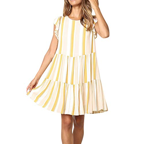 Sunday88 Sleeveless Dress for Women Summer Casual Striped Printing Bell Sleeve Sling Ruffle A-Line Dress Casual Mini Dress Yellow