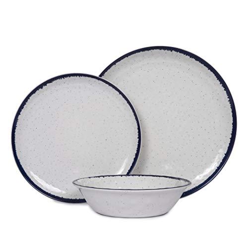 Melamine Dinnerware Set, 12-Piece Plates and Bowls set, Indoor Outdoor Melamine Plates, Durable and BPA Free, Dishwasher…