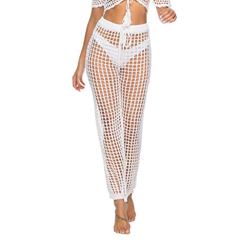 YKARITIANNA Womens Cover Up Pants Sexy Hollow Out Crochet High Waist MeshSwimsuits Pants White ()