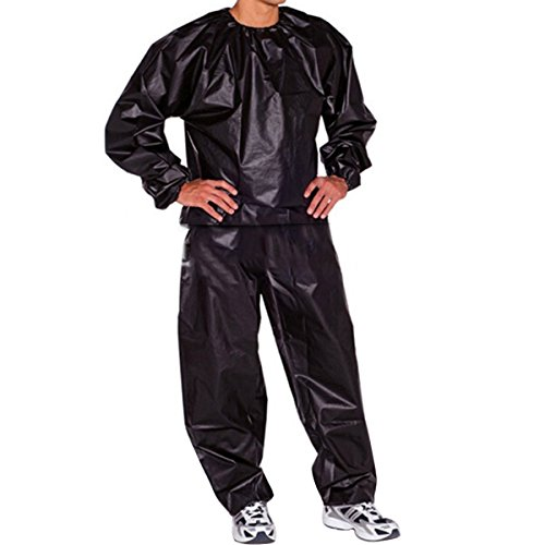Evaliana Sweat Track Sauna Suit Fitness Weight Loss Exercise Gym Training, Black, XXXXX-Large (5xl Sauna Suit)