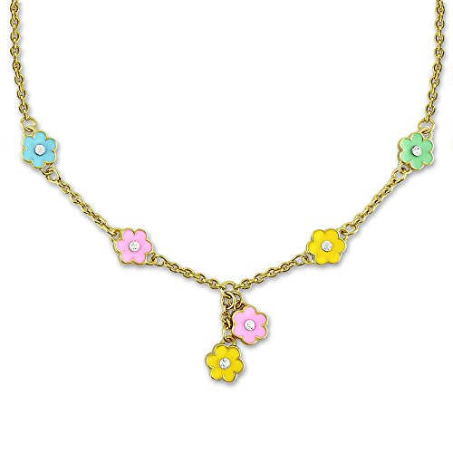 Flower Necklace For Women And Teens - Dainty Jewelry With Hand Painted Flower Charms - Choose From Vibrant Or Pastel Colors - Flower Jewelry For Women | 16 Inch Necklaces For Women, Adjustable Chain (Pastel Color Necklace)