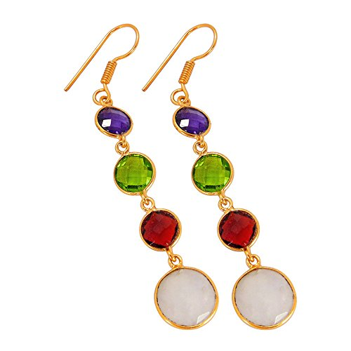 18k Gold Multi Color Gemstone - Handmade 18k Gold Vermeil Multi Color Gemstone Long Dangle Earrings