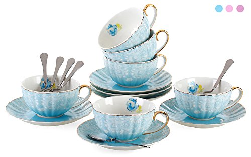 (Jusalpha Porcelain Tea Cup and Saucer Coffee Cup Set with Saucer and Spoon FD-TCS04 (Set of 6, Blue))