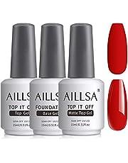 AILLSA Base Coat Top Coat Set 3 * 15ml weken uit UV Gel nagellak glanzend matte Velvet afwerking voor nagellak