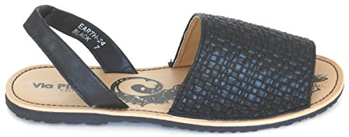 Vrouwen Comfort Multi Kleur Canvas Casual Strand Zomer Platte Sandalen Schoenen Zwart Earth-24