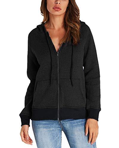 Full Zip Long Sleeve Sweater - Kidsform Women's Full Zip Hoodie Long Sleeve Casual Sweatshirts Solid Hooded Jacket Black US 6-8/ASIAN M