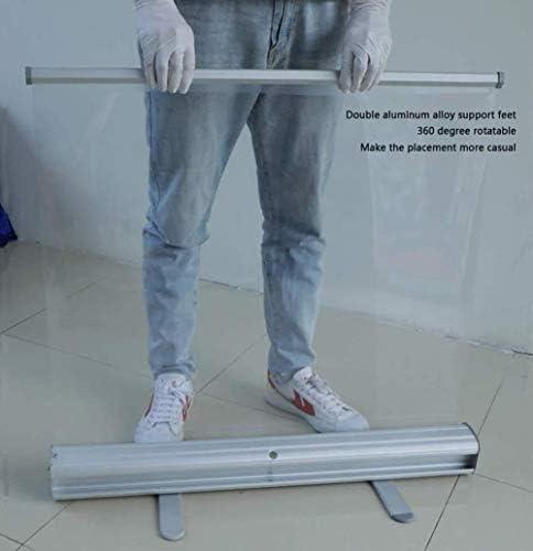 60X160cm Pop Up Pull Up Roller Bannière Sol Debout Transparent PVC Sneeze Guard Écran de Protection Bouclier Isolation Barrière avec Support en Aluminium (sans Motif)