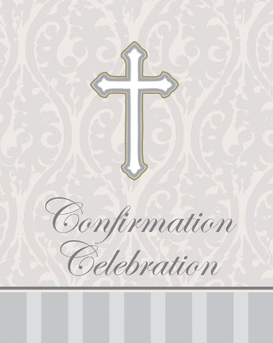 Creative Converting Devotion Cross Confirmation Celebration Invitations, Silver, 8 Count