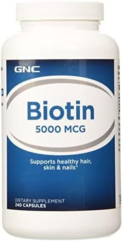 GNC Biotin 5000 MCG, 240 Capsules, Supports Healthy Hair, Skin and Nails