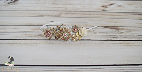Handcrafted Vintage Rose Jewelry Headband - Bridal Tiara - One of a Kind Tiara - Pink Ivory White Gold Wedding - Romantic Wedding Hair Piece by The Pearled Rose