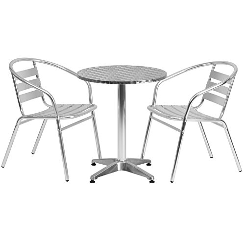 Flash Furniture 23.5'' Round Aluminum Indoor-Outdoor Table Set with 2 Slat Back Chairs