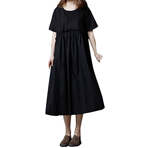 Womens Dresses Clearance Sale! Women's 3/4 Sleeve Casual Loose Cotton Linen Soild High Line Long Dress Daily by ILUCI Womens Dresses (Image #1)
