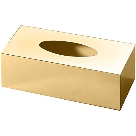 DWBA Rectangular Brass Bath Tissue Box Holder Cover Tray Dispenser Tissue Case Polished Gold