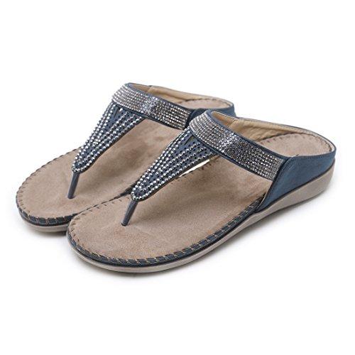 Femmes Bleu Plates Bascules des Sandales de Ruiren pour D'été de Chaussures Dames qK1tC5nwH