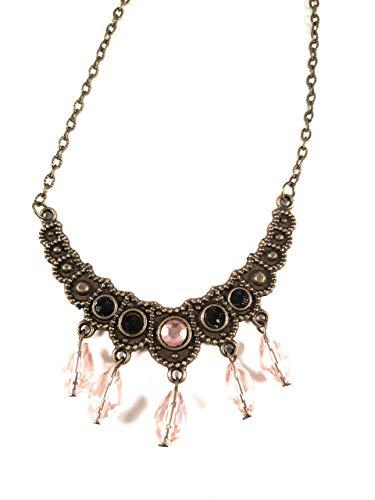 - Handmade Rhinestone Bronze & Pink Crown bib Necklace chain Blackenedruby Jewelry crown jewels